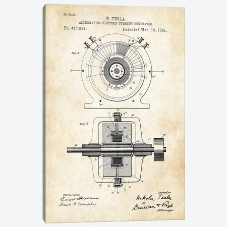 Nikola Tesla Generator Canvas Print #PTN193} by Patent77 Art Print