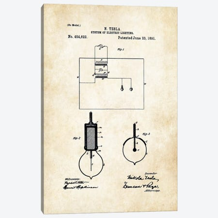 Nikola Tesla Light Bulb Canvas Print #PTN195} by Patent77 Canvas Wall Art