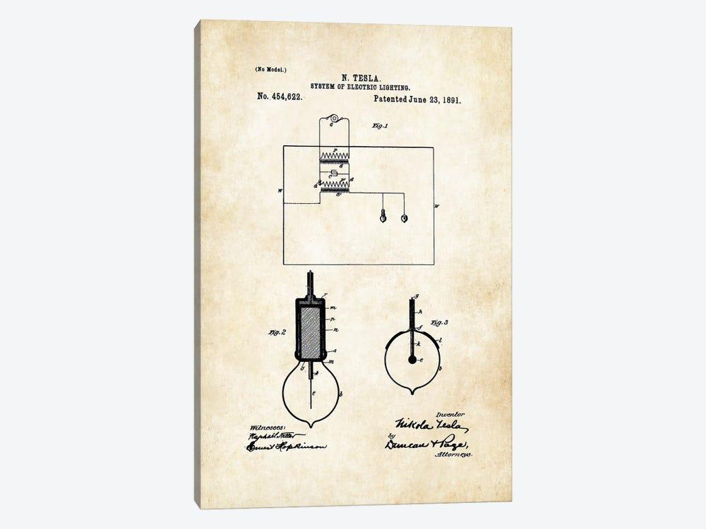 Nikola Tesla Light Bulb by Patent77 1-piece Canvas Artwork