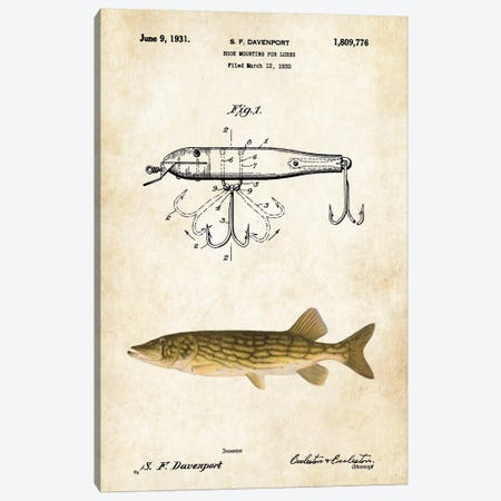 Northern Pike Fishing Lure Canvas Print #PTN198} by Patent77 Canvas Art Print