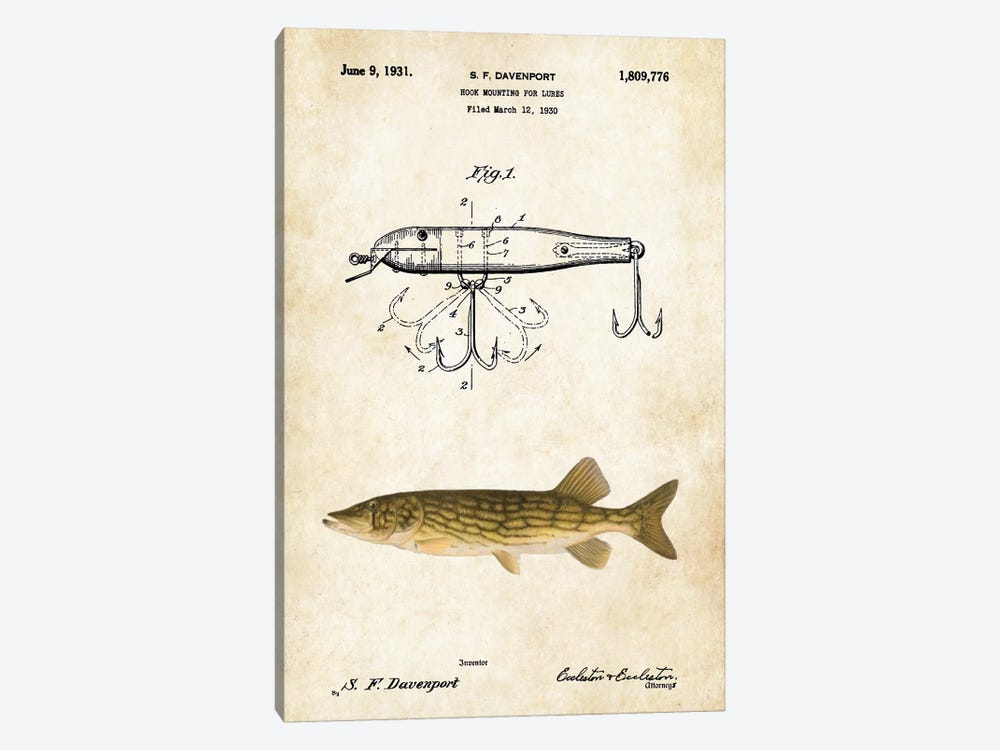 Northern Pike Fishing Lure by Patent77 1-piece Art Print
