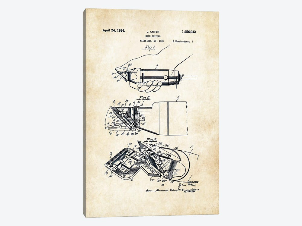 Oster Barber Razor by Patent77 1-piece Canvas Art