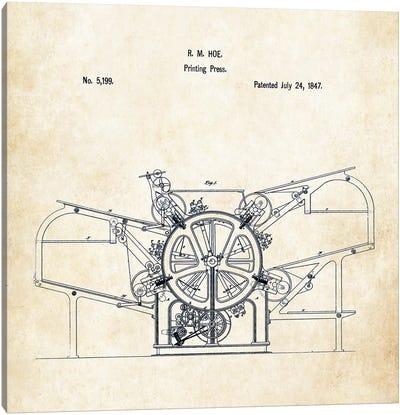 1847 Printing Press Canvas Art Print