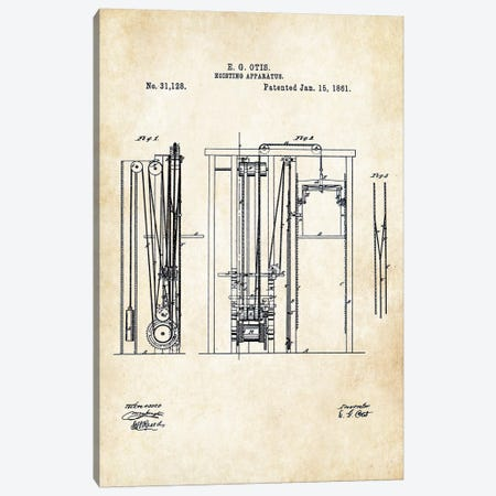 Otis Elevator (1861) Canvas Print #PTN200} by Patent77 Art Print