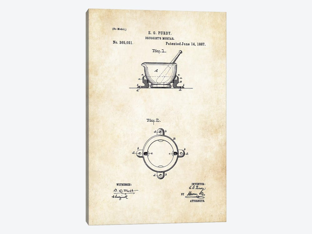 Pharmacist Mortar and Pestle by Patent77 1-piece Canvas Art Print