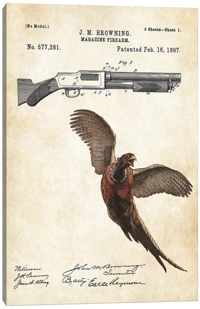 Pheasant Hunting Art Canvas Art Print