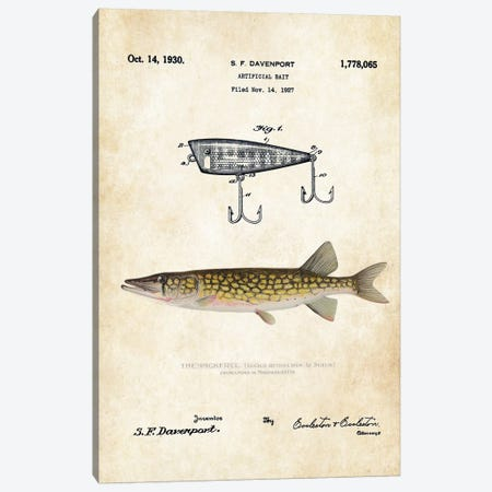Pickerel Fishing Lure Canvas Print #PTN206} by Patent77 Canvas Art