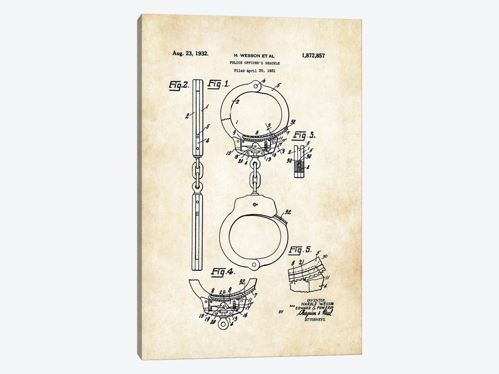 Police Handcuffs (1931) by Patent77 1-piece Canvas Art