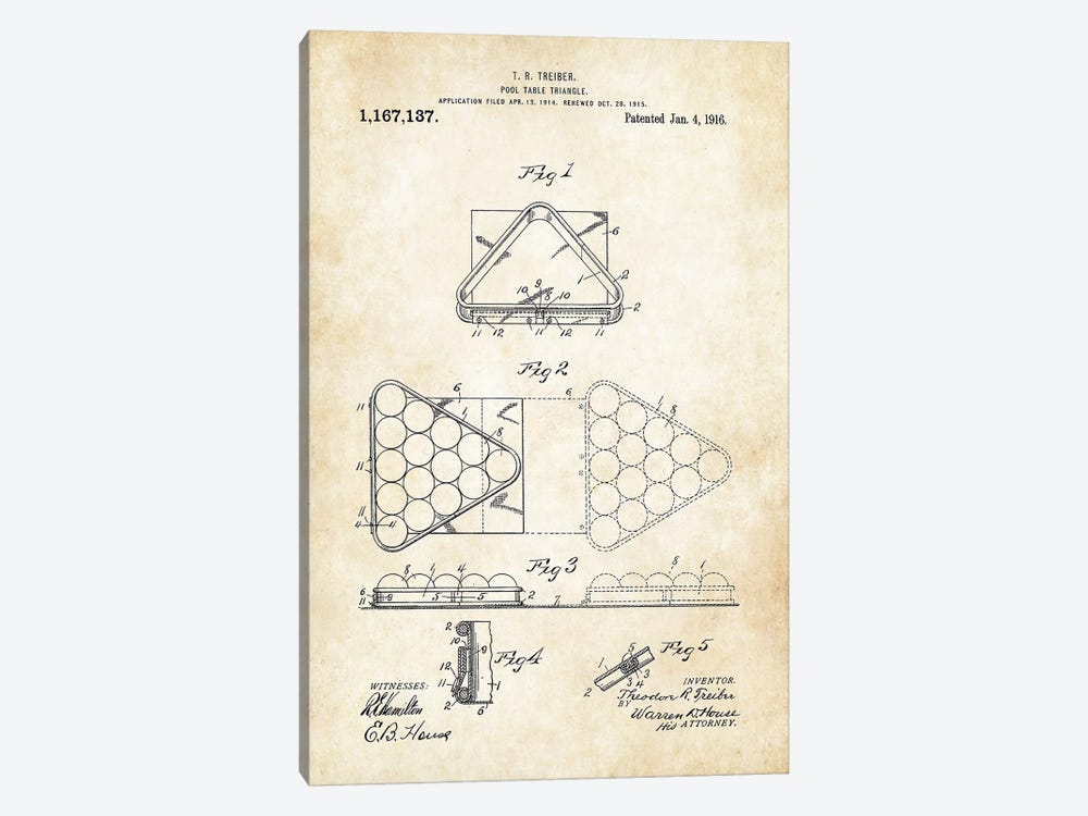 Pool Triangle (1916) by Patent77 1-piece Canvas Print
