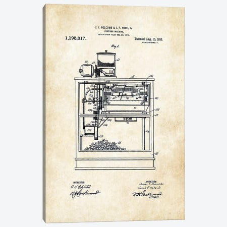 Popcorn Machine Canvas Print #PTN219} by Patent77 Canvas Art