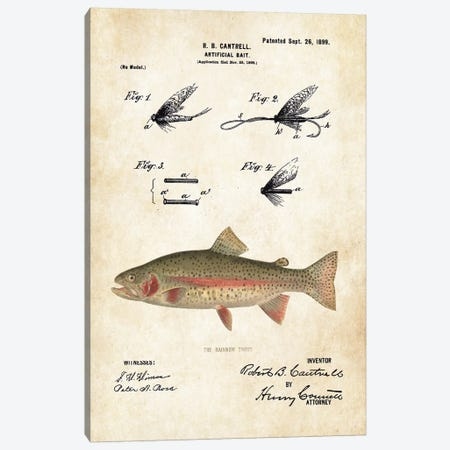 Rainbow Trout Fishing Lure Canvas Print #PTN222} by Patent77 Canvas Print