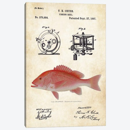 Red Snapper Fishing Lure Canvas Print #PTN223} by Patent77 Art Print