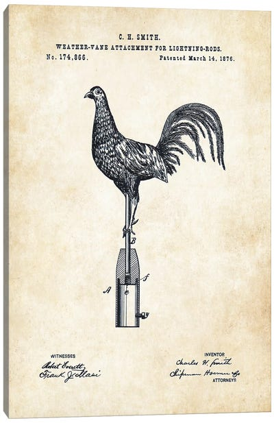 Rooster Weathervane Canvas Art Print