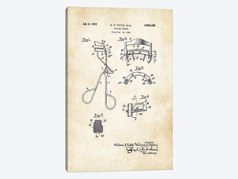 Salon Eyelash Curler by Patent77 1-piece Canvas Art Print