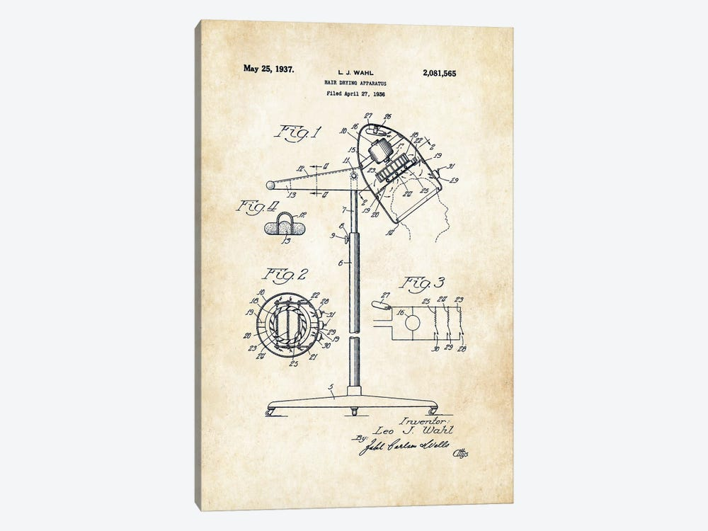 Salon Hair Dryer by Patent77 1-piece Canvas Print