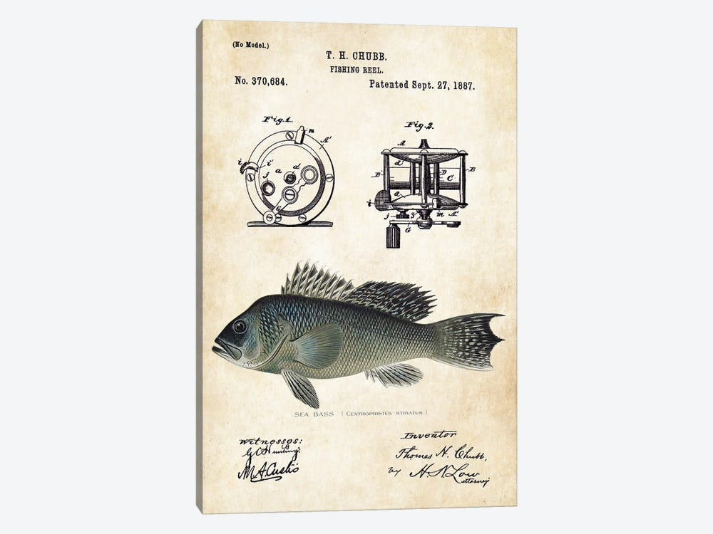 Sea Bass Fishing Lure by Patent77 1-piece Canvas Art Print