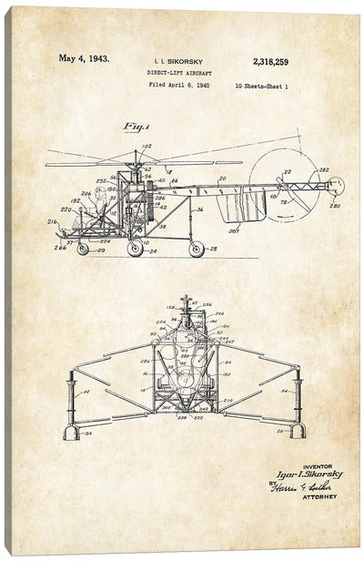 Sikorsky Helicopter Canvas Art Print