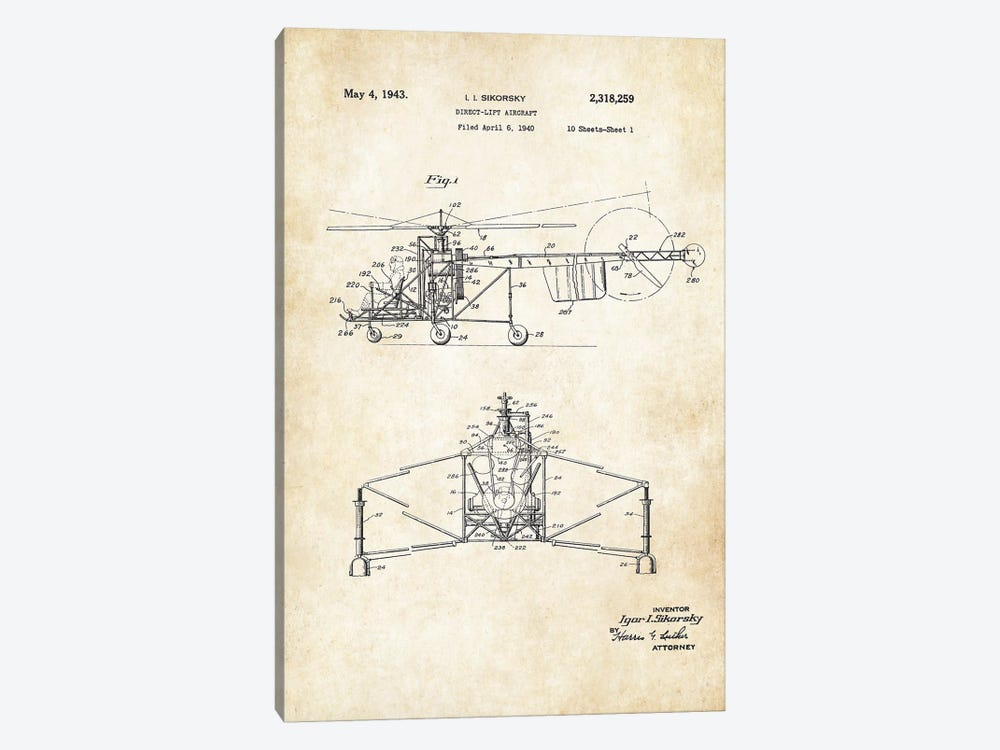 Sikorsky Helicopter by Patent77 1-piece Canvas Art Print