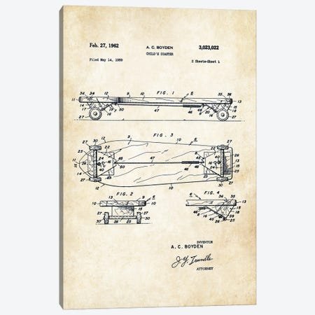 Skateboard Deck (1962) Canvas Print #PTN239} by Patent77 Canvas Wall Art