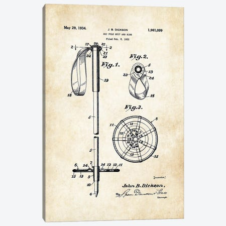Ski Pole Canvas Print #PTN244} by Patent77 Canvas Art