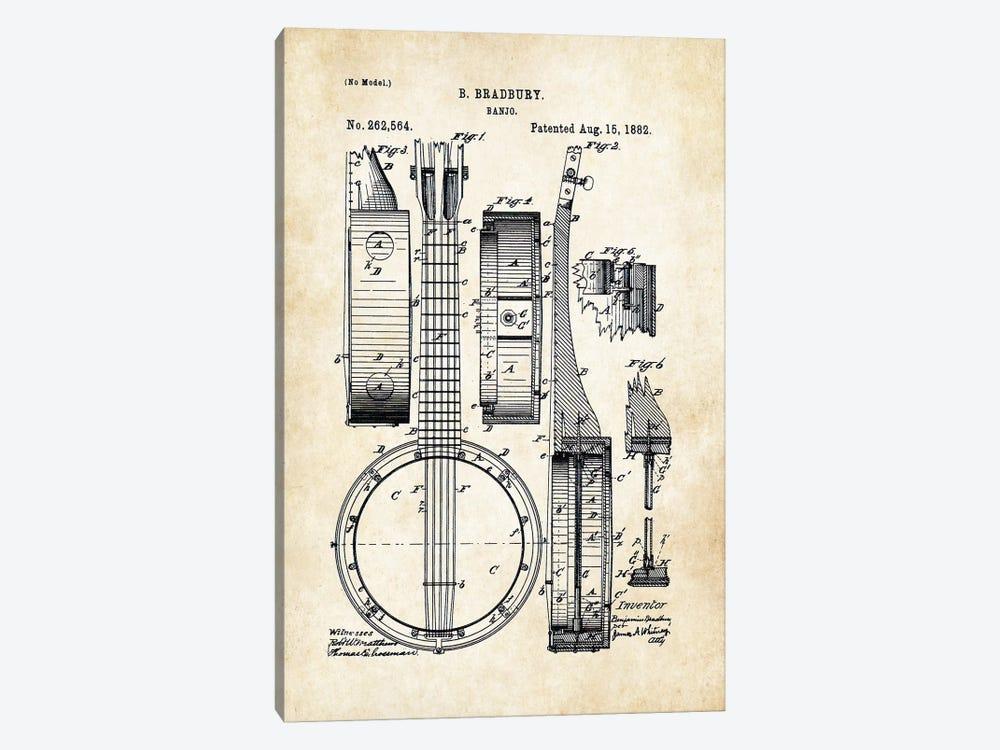 Banjo Guitar by Patent77 1-piece Canvas Art Print