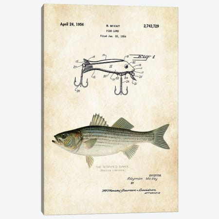 Striped Bass Fishing Lure Canvas Print #PTN254} by Patent77 Canvas Print
