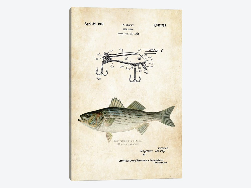 Striped Bass Fishing Lure by Patent77 1-piece Canvas Print