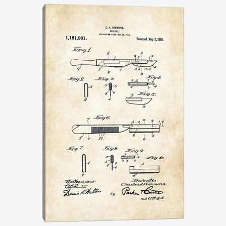 Surgeon Scalpel Canvas Print #PTN256} by Patent77 Art Print