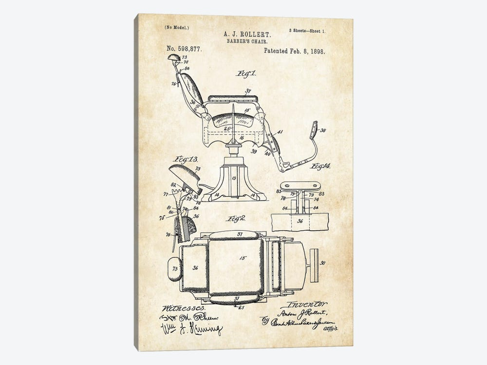 Barber Chair (1898) by Patent77 1-piece Canvas Wall Art