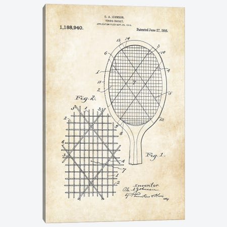 Tennis Racket Canvas Print #PTN262} by Patent77 Art Print