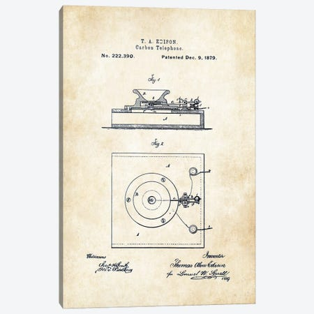 Thomas Edison Carbon Telephone Canvas Print #PTN264} by Patent77 Canvas Wall Art