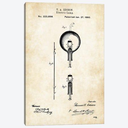 Thomas Edison Lamp Canvas Print #PTN265} by Patent77 Canvas Artwork