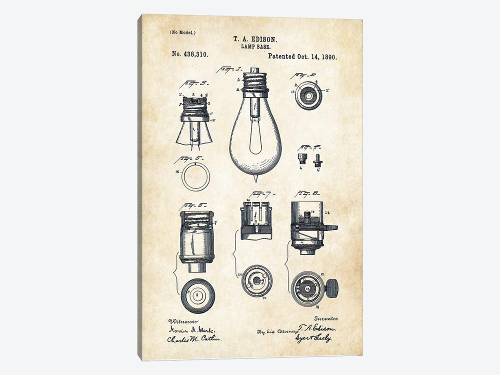 Thomas Edison Lamp by Patent77 1-piece Canvas Art