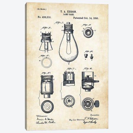 Thomas Edison Lamp Canvas Print #PTN266} by Patent77 Canvas Artwork