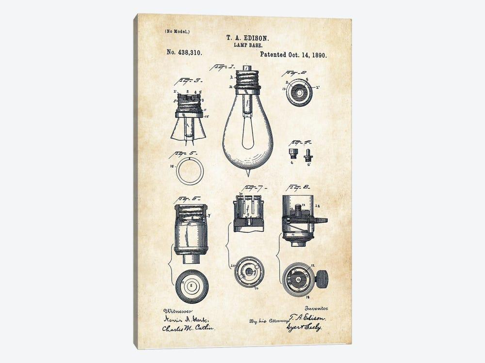 Thomas Edison Lamp by Patent77 1-piece Canvas Art