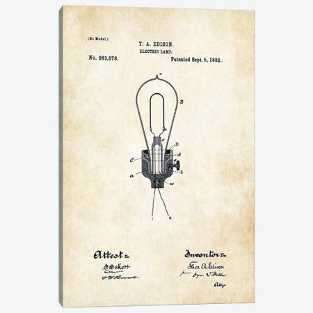 Thomas Edison Light Bulb Canvas Print #PTN267} by Patent77 Canvas Art