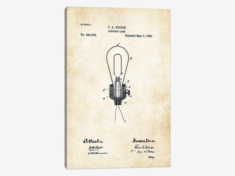 Thomas Edison Light Bulb by Patent77 1-piece Canvas Print
