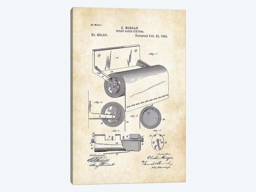 Toilet Paper Fixture by Patent77 1-piece Canvas Wall Art
