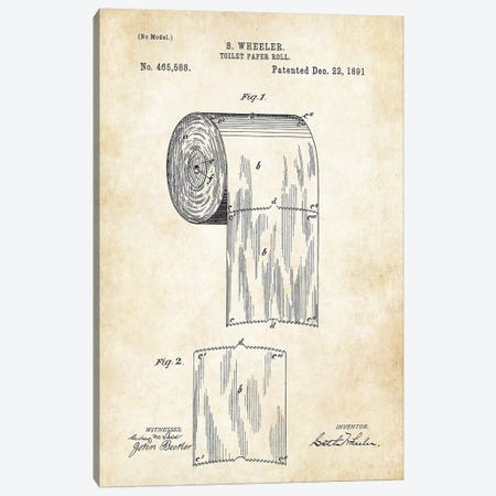 Toilet Paper Roll Canvas Print #PTN269} by Patent77 Canvas Print