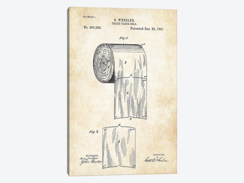Toilet Paper Roll by Patent77 1-piece Canvas Art Print