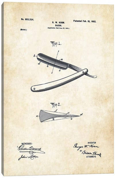 Barber Straight Razor Canvas Art Print