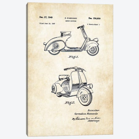 Vespa 125 (1949) Canvas Print #PTN281} by Patent77 Canvas Art Print