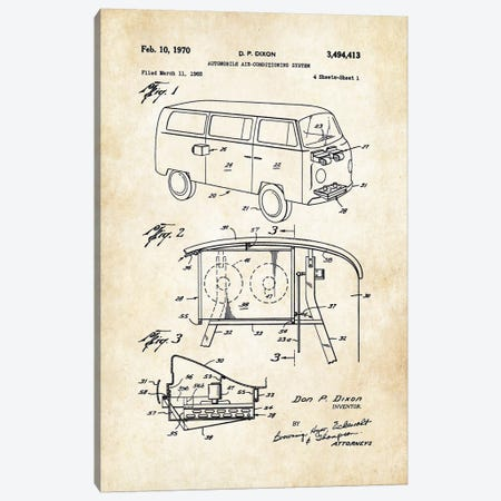 Volkswagen Bus Canvas Print #PTN284} by Patent77 Canvas Wall Art