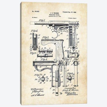 Wesson Pistol (1898) Canvas Print #PTN289} by Patent77 Art Print