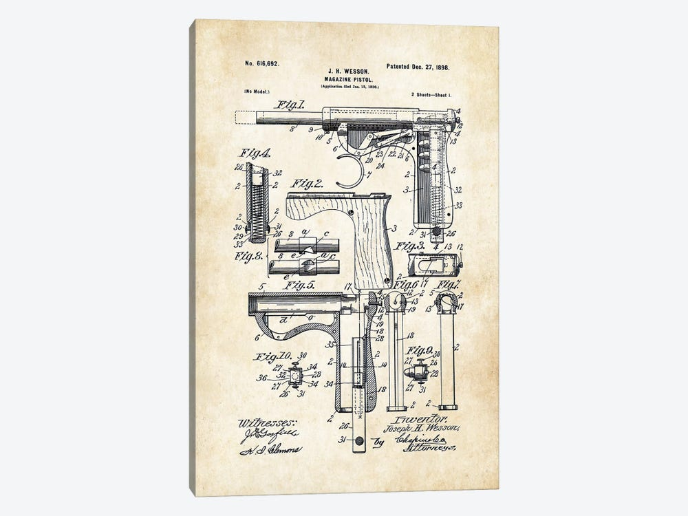 Wesson Pistol (1898) by Patent77 1-piece Canvas Print