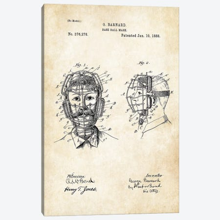 Baseball Catcher Mask Canvas Print #PTN28} by Patent77 Canvas Art Print