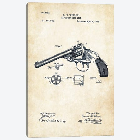 Wesson Revolver Canvas Print #PTN290} by Patent77 Canvas Artwork