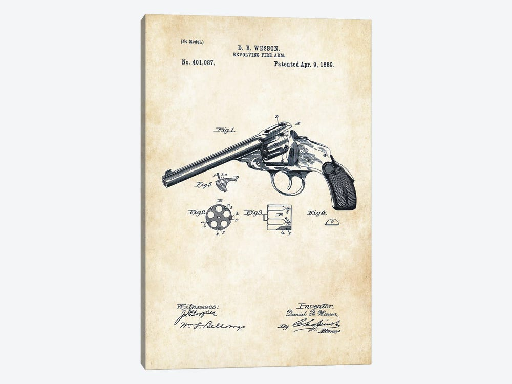 Wesson Revolver by Patent77 1-piece Canvas Print