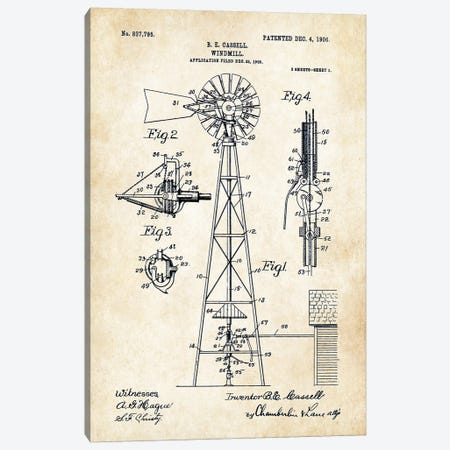 Windmill (1906) Canvas Print #PTN294} by Patent77 Canvas Art Print