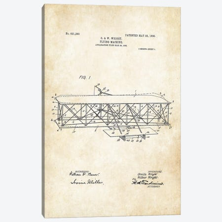 Wright Brothers Airplane Canvas Print #PTN296} by Patent77 Art Print